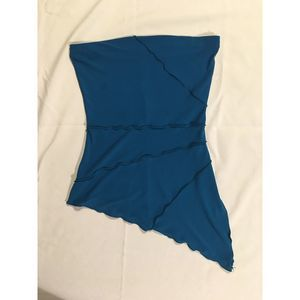 Turquoise Stretch Diagonal Strapless Top
